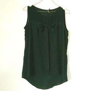 Black Sleeveless Dress Shirt with Ribbon Bow